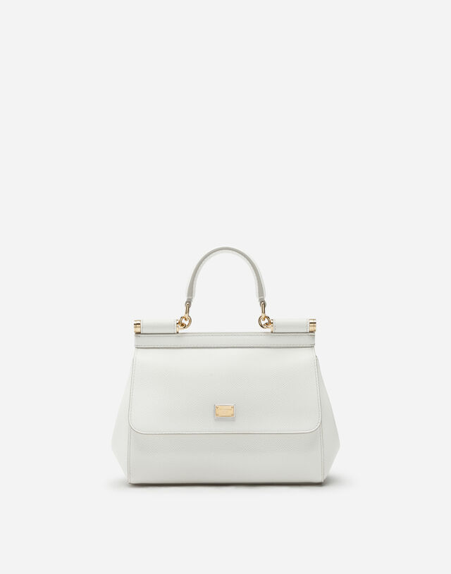 Small Sicily bag in dauphine calfskin in WHITE