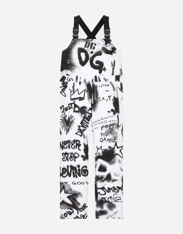 Nylon ski salopettes with graffiti print in White/Black