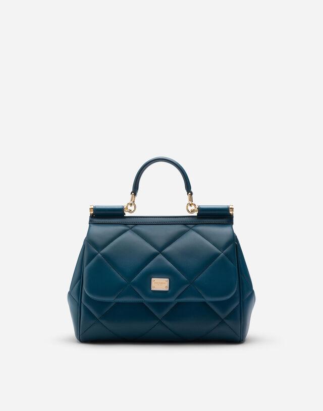 Medium Sicily bag in aria matelassé calfskin in BLUE