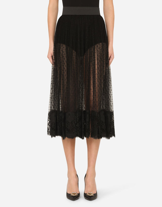 Pleated calf-length skirt in chantilly lace and plumetis in BLACK