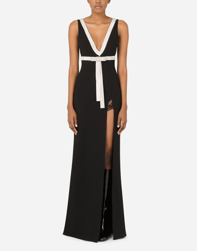 Long cady dress with rhinestone embellishment in Black