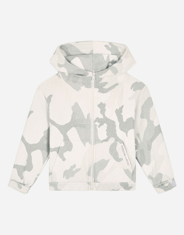 Oversize jersey hoodie with camouflage print in Multicolor