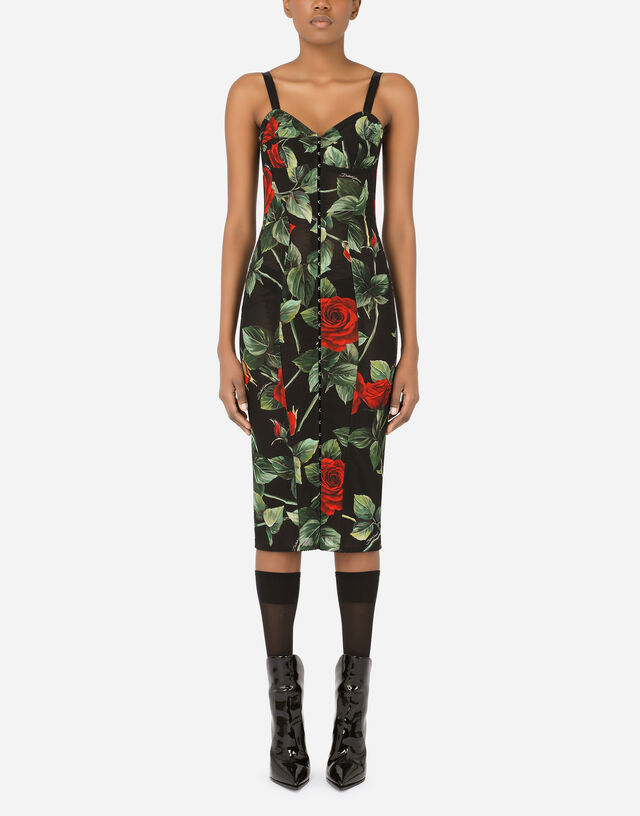 Calf-length bustier dress in rose-print marquisette in Multicolor