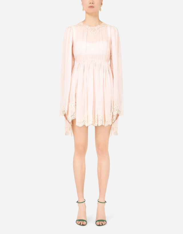Short georgette dress with lace trims in PINK