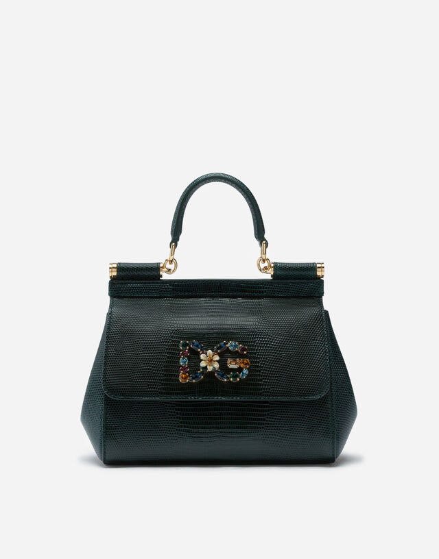 Medium calfskin Sicily bag with iguana print and DG crystal logo patch in GREEN