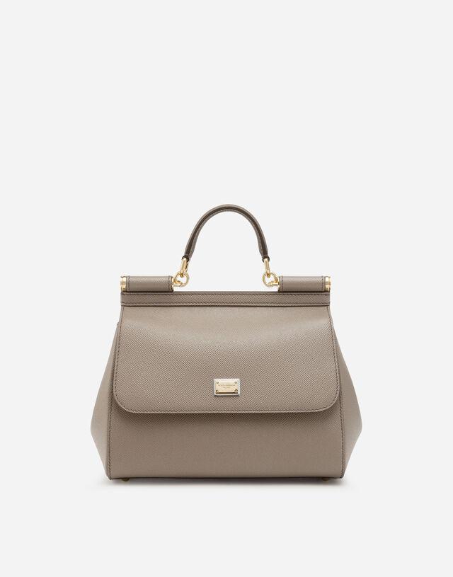 Medium Sicily handbag in dauphine leather in Grey
