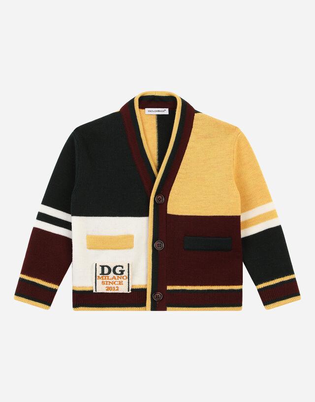 Color-block full Milano cardigan in Multicolor