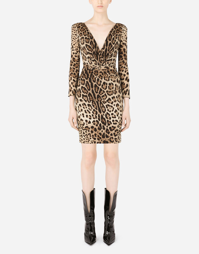 Short charmeuse dress with leopard print and tie in Multicolor