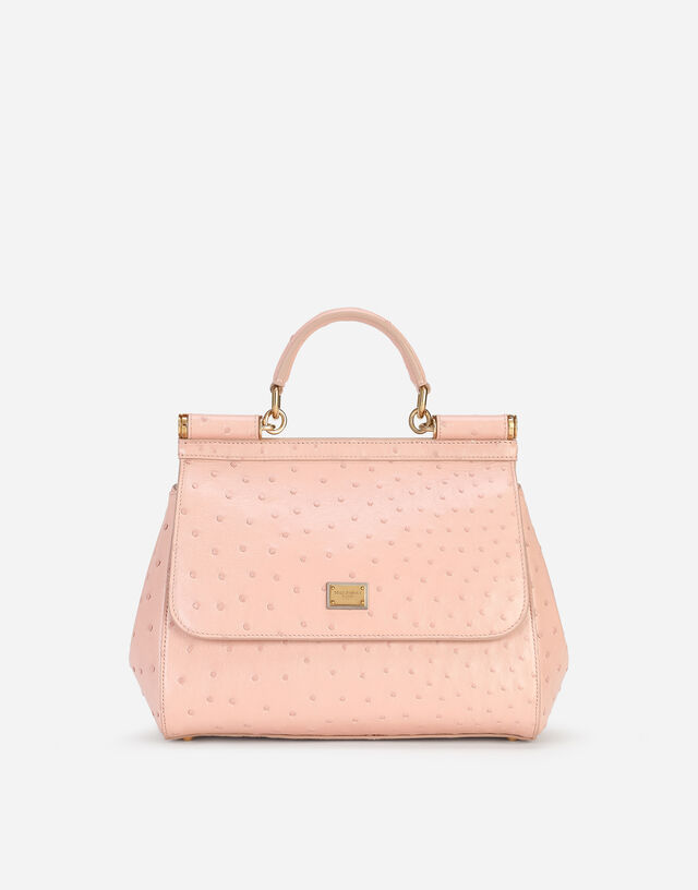 Medium Sicily bag in ostrich skin in Pink