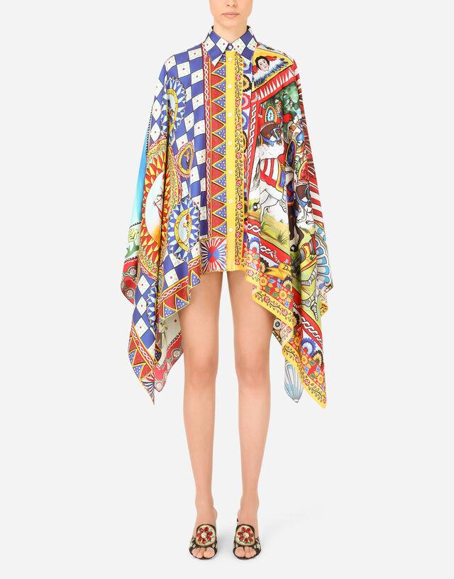 Carretto-print twill poncho shirt in Multicolor