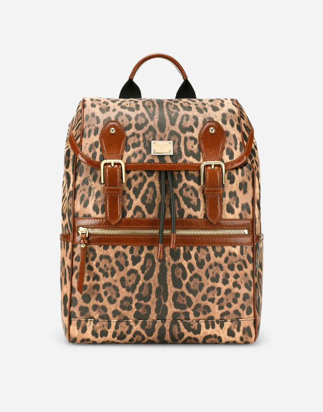 Leopard-print Crespo backpack with branded plate in Multicolor