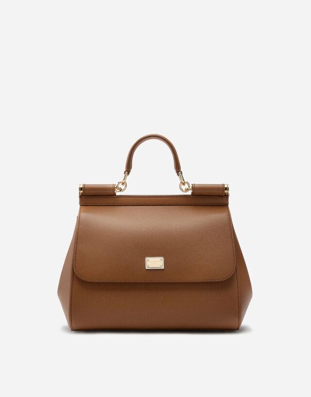Medium Sicily handbag in dauphine leather in BROWN
