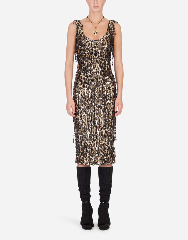 Sheath dress with leopard-look sequin embellishment in Multicolor
