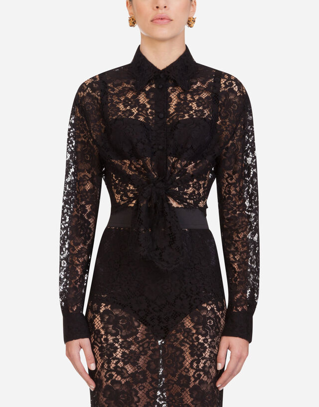 Short lace shirt with bow in BLACK