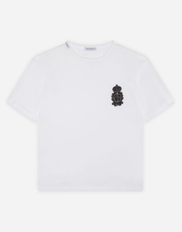 Jersey T-shirt with heraldic DG patch in White