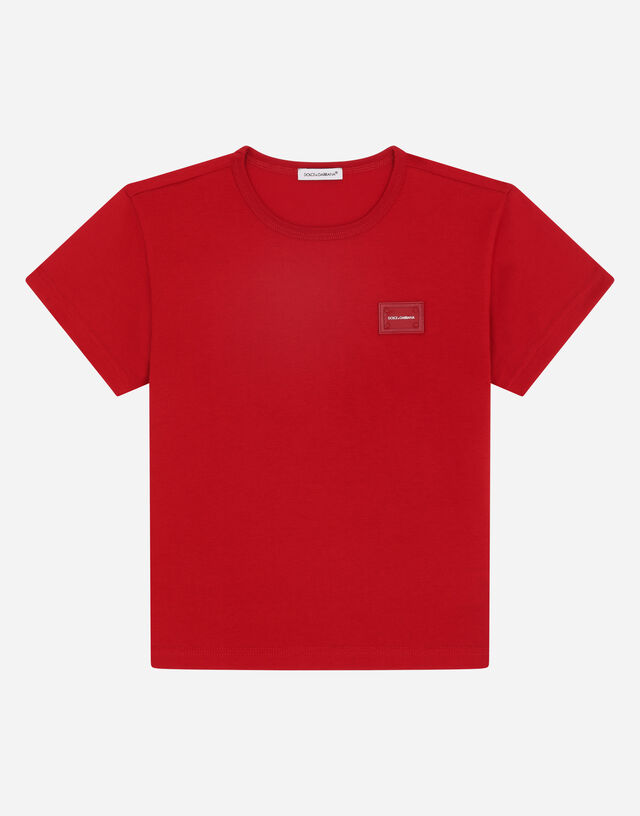 Jersey T-shirt with logo plate in Red