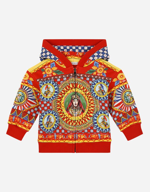 Jersey hoodie with Carretto print in Multicolor