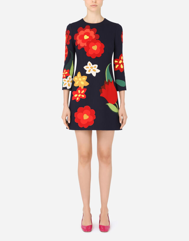 Short crepe dress with floral patches in Blue