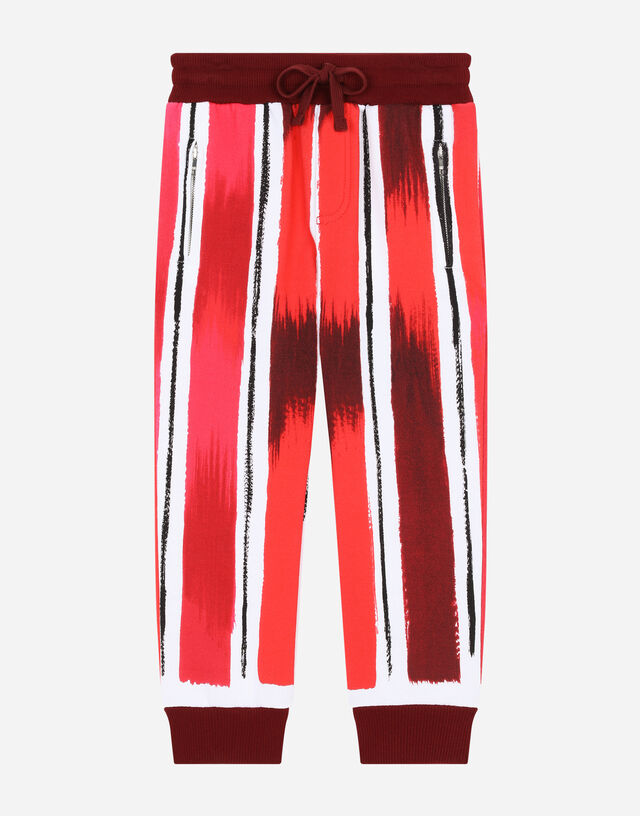 Jersey jogging pants with brushstroke print in Multicolor