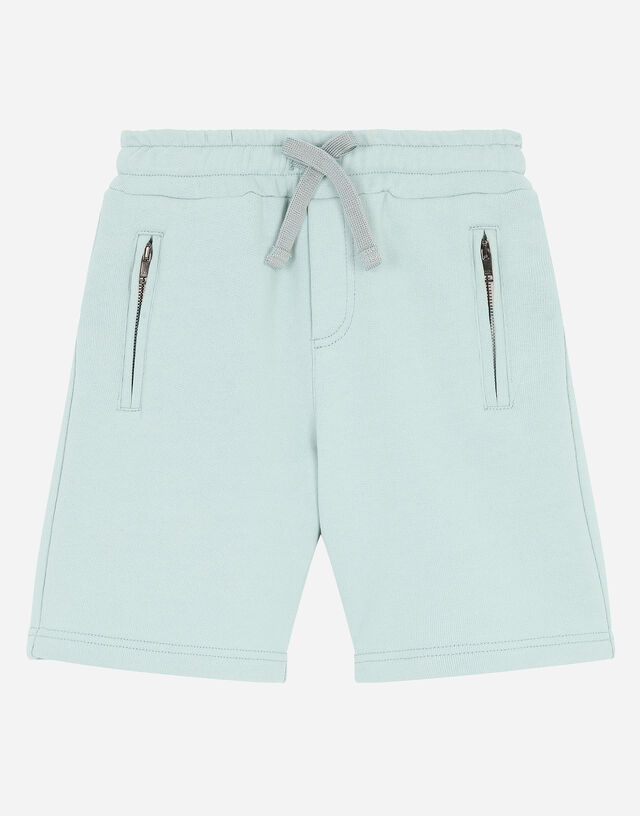 Jersey jogging shorts with logo plate in Azure