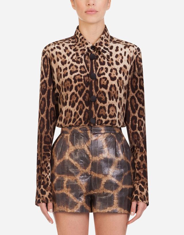 Crêpe de chine shirt with leopard print in ANIMAL PRINT