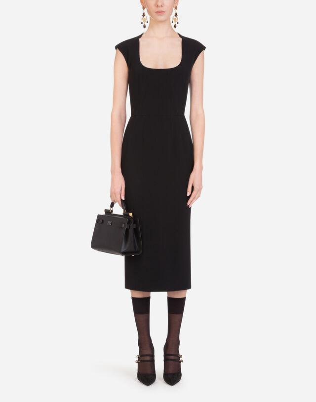 Longuette dress in cady in BLACK