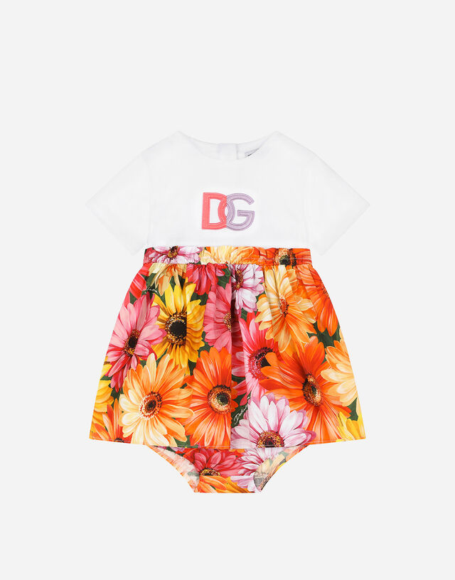 Short jersey and poplin dress with gerbera-daisy print in Multicolor