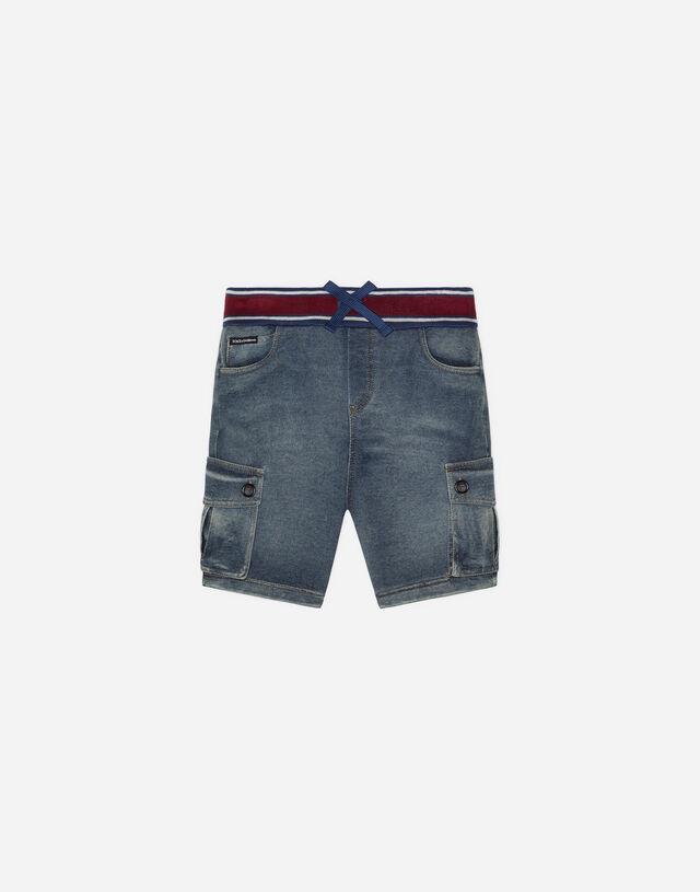 Jersey bermuda shorts in washed denim in Blue