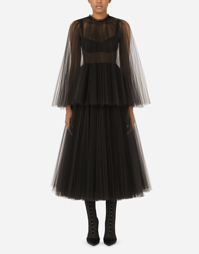 Tulle calf-length dress with sunray pleats and cape detail in Black