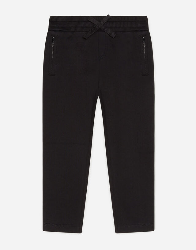 Jersey jogging pants with satin DG detail in Black