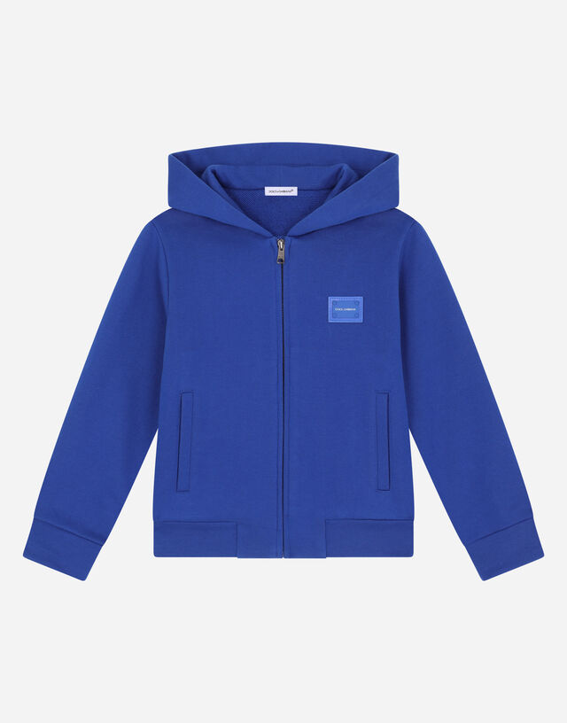 Jersey hoodie with logo tag in Blue