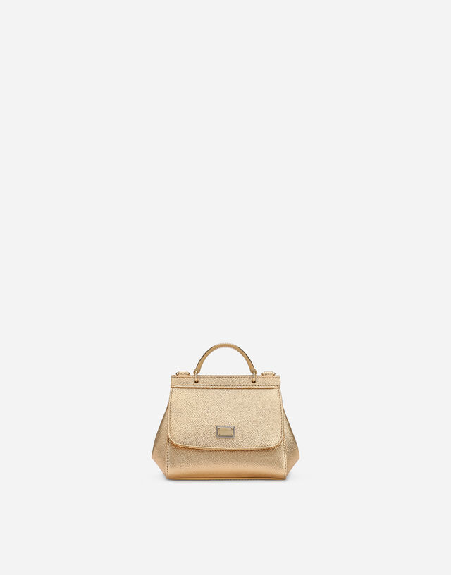 Sicily mini bag in Dauphine leather in Gold