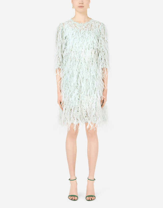 Short lace dress with marabou trim and rhinestones in AZURE