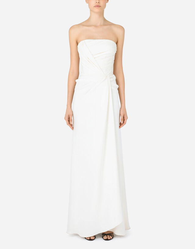 Long sable dress with side slit in White