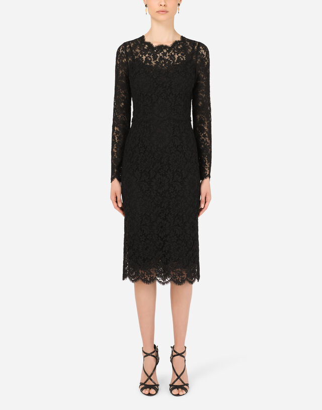 Long-sleeved calf-length dress in cordonetto lace in Black
