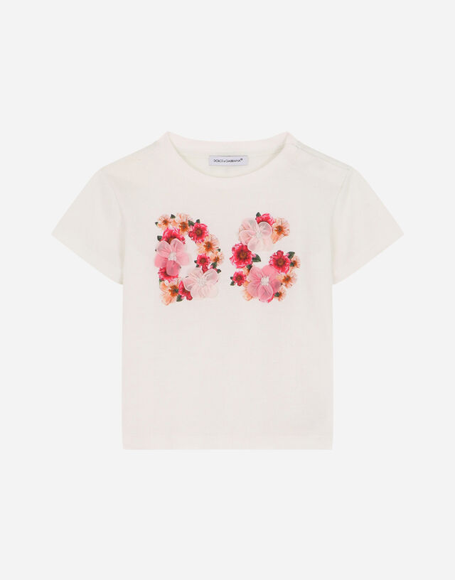 Jersey t-shirt with camellia DG print in Multicolor