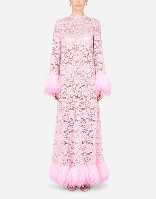 Lace caftan with marabou trim in LILAC