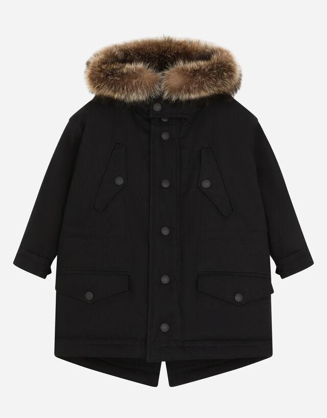 Hooded parka with fur details in Black