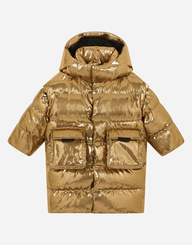 Foiled-gold nylon down jacket in Gold