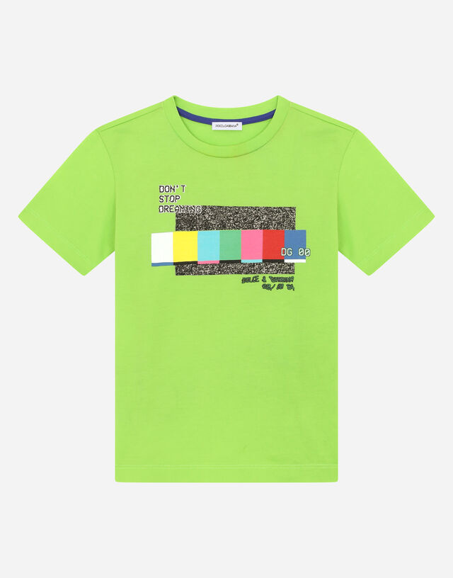 Jersey T-shirt with multi-colored print in Green