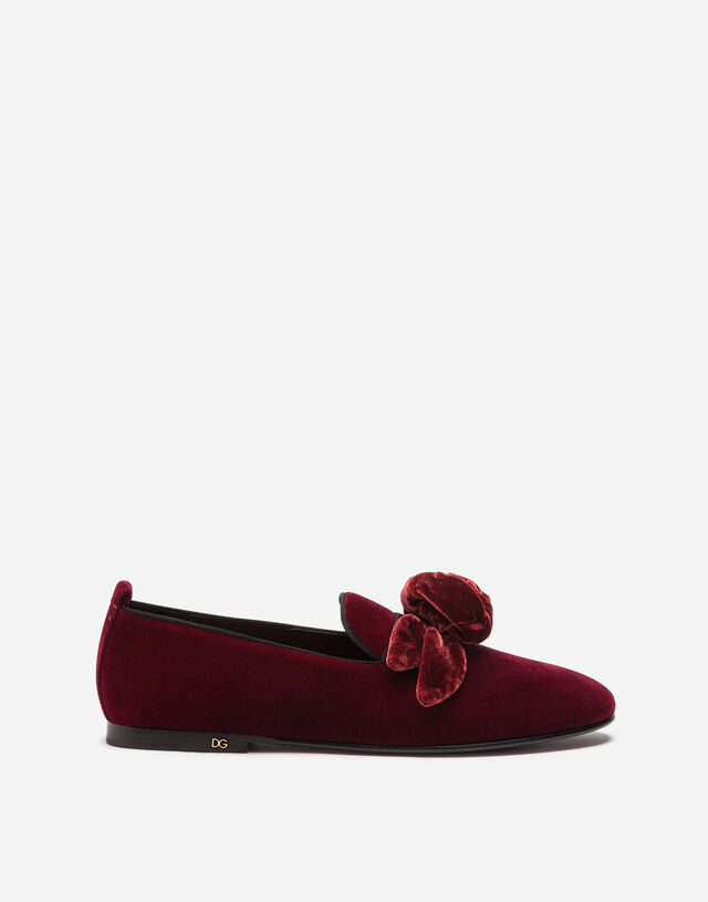 Velvet slippers with satin bow in RED