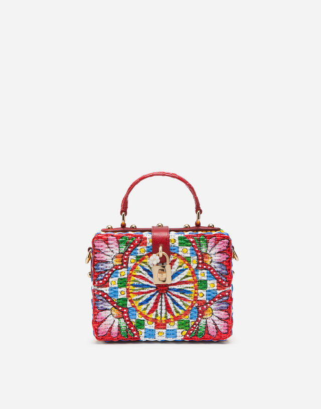 Painted wicker Dolce Box bag in Multicolor