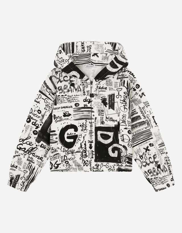 Jersey hoodie with graffiti print in Multicolor