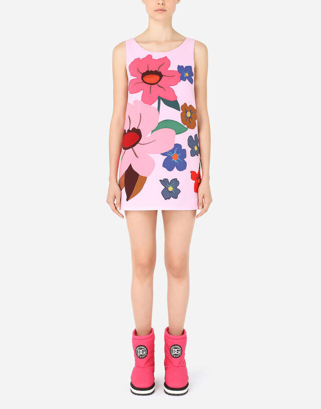 Crepe minidress with floral patches in Multicolor
