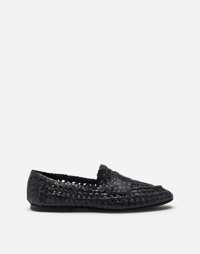 Persia woven calfskin slippers in BLUE
