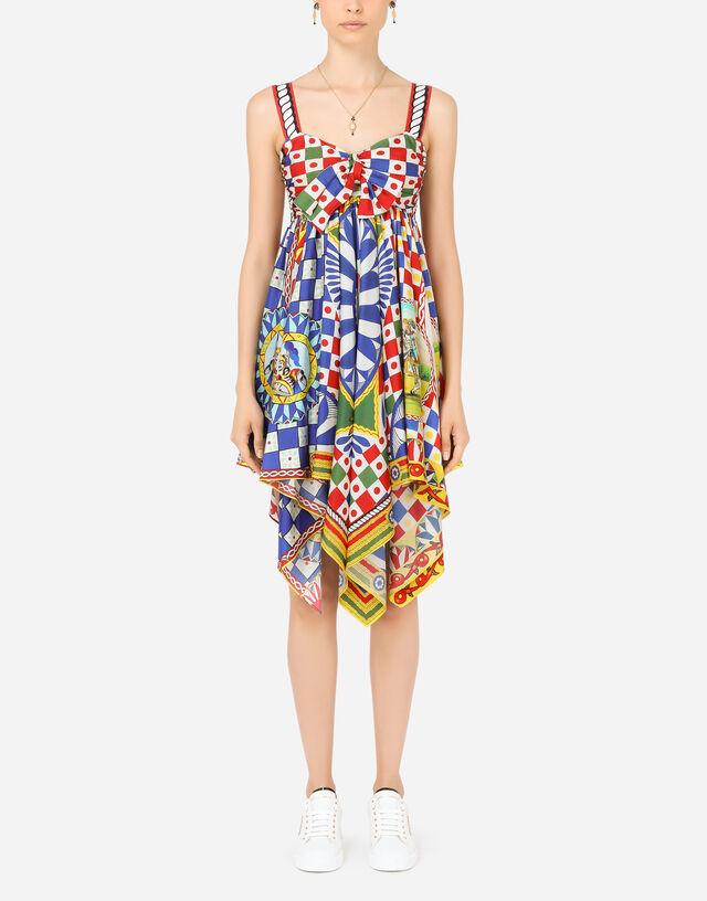 Short Carretto-print twill dress in Multicolor