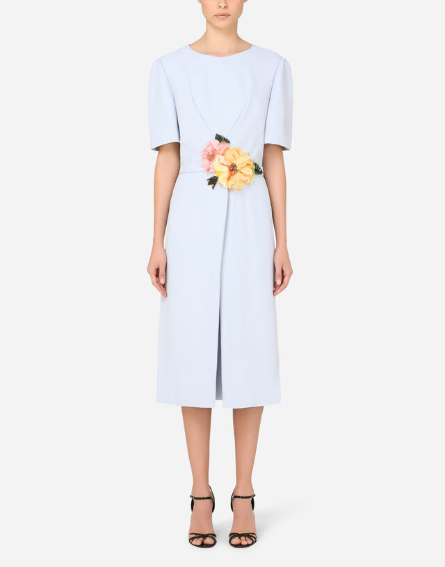 Cady midi dress with floral detailing in AZURE