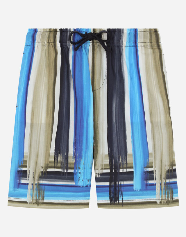 Poplin shorts with painted striped print in Multicolor