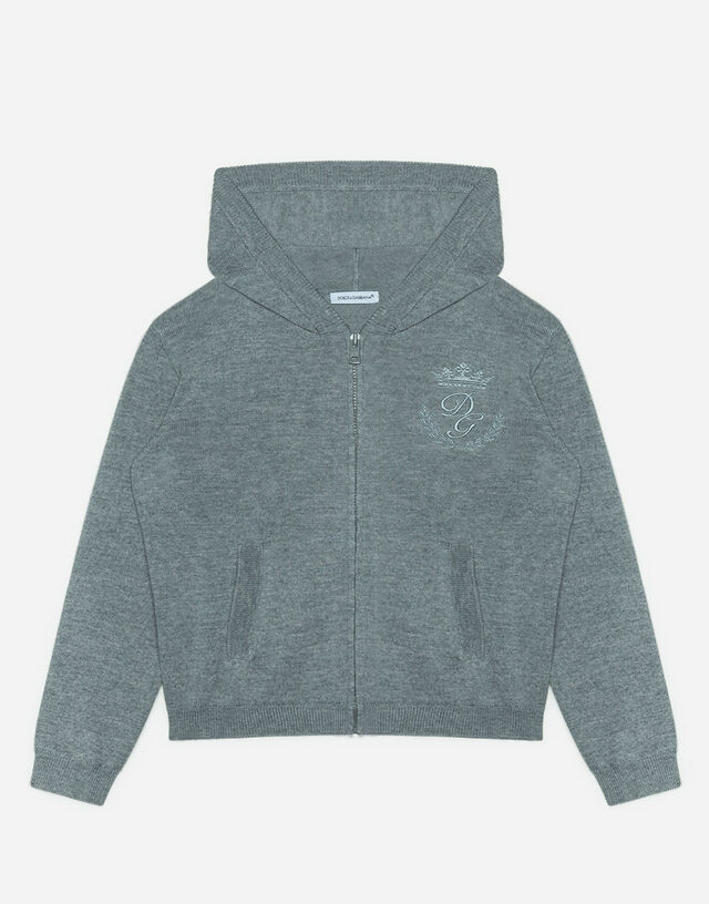 Hooded wool sweater with heritage embroidery in Grey