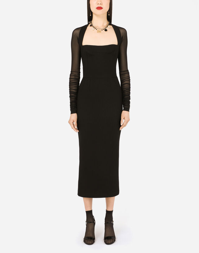 Sable calf-length dress with tulle sleeves in Black